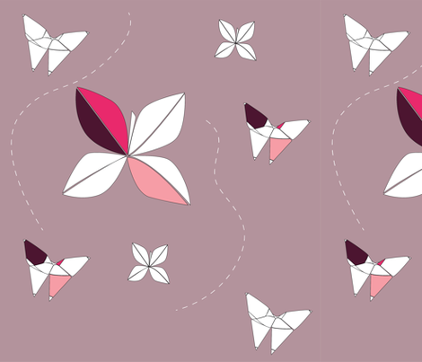Origami Flowers & Butterflies fabric by surfacerender on Spoonflower - custom fabric