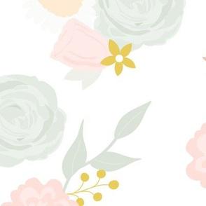 Custom large summer blooms on white