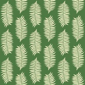 Medium Lemon Chiffon Fern Leaf Silhouettes on Fern Green