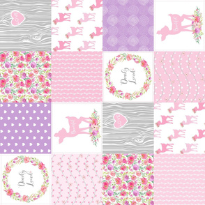 Dearly Loved Fawn Cheater Quilt Fabric - Baby Girl Nursery (pink lavender gray) ROTATED