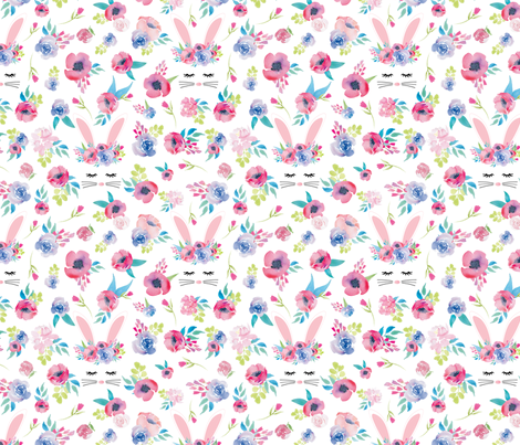 Easter Bunny Face Spring Floral fabric by twodreamsshop on Spoonflower - custom fabric