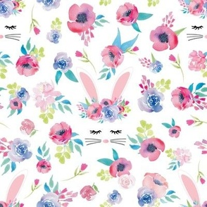 Easter Bunny Face Spring Floral