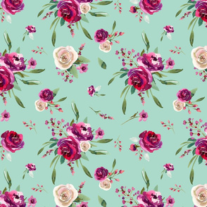 mint deep pink watercolor floral