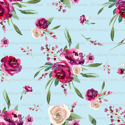 pale blue deep pink watercolor floral