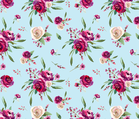 pale blue deep pink watercolor floral  fabric by twodreamsshop on Spoonflower - custom fabric