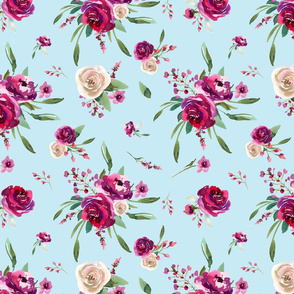 pale blue deep pink watercolor floral