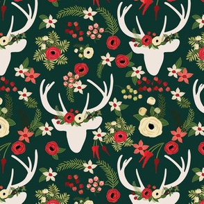 Forest Green Winter White Floral Deer Winter Berries