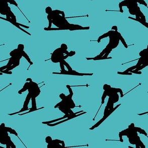 Skiers on Turquoise // Small