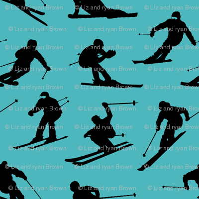 Skiers on Turquoise // Large