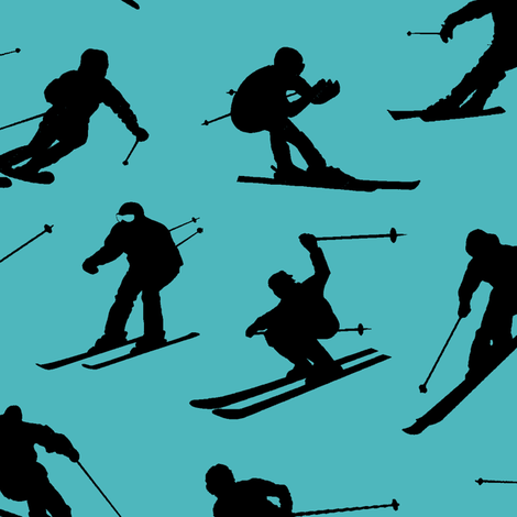 Skiers on Turquoise // Large fabric by thinlinetextiles on Spoonflower - custom fabric