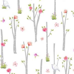 Grey Birch Trees w/ Flowers + Birds, pink + coral flowers