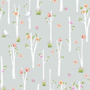 Birch Trees w/ Flowers + Birds (frost gray)