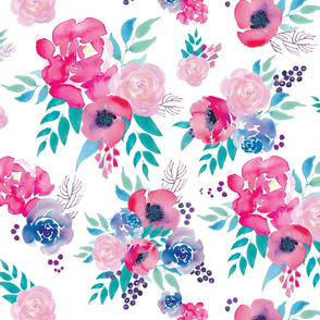 pink, teal and purple watercolor floral
