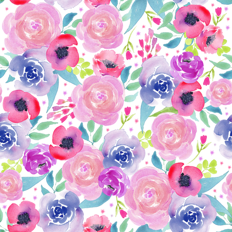 Bright Boho Watercolor Floral Starburst fabric by twodreamsshop on Spoonflower - custom fabric