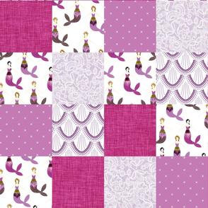 sparkle mermaids wholecloth // pink + purple