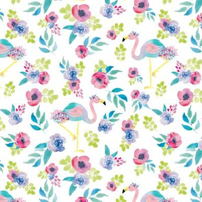 Watercolor Flamingo Floral Tropical Summer Floral