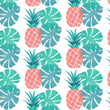 Pink pineapple with monstera fabric by gone2quonnie on Spoonflower - custom fabric