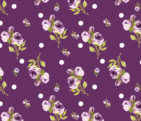 deep Purple floral doily dot fabric by twodreamsshop on Spoonflower - custom fabric