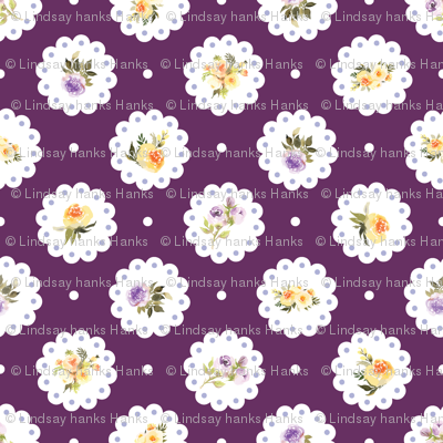 Deep Purple Yellow Floral Doily