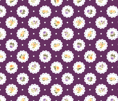Deep Purple Yellow Floral Doily  fabric by twodreamsshop on Spoonflower - custom fabric
