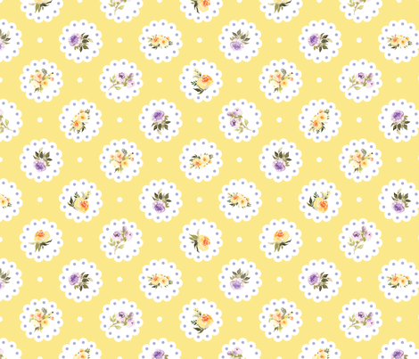 Doily Yellow and Purple Flowers  fabric by twodreamsshop on Spoonflower - custom fabric