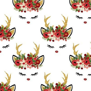 Reindeer Face Floral Gold Sparkle Red Green