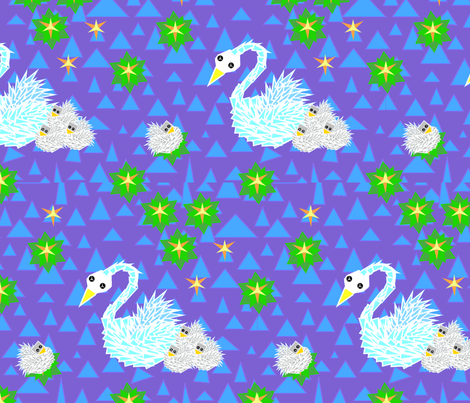 Swan with cygnets 2 fabric by ruthjohanna on Spoonflower - custom fabric