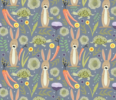 Rabbit and Turtle fabric by cathleenbronsky on Spoonflower - custom fabric