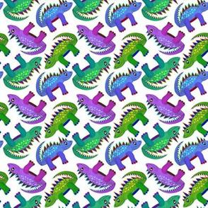 Dinosaurs (Green, mauve & blue)