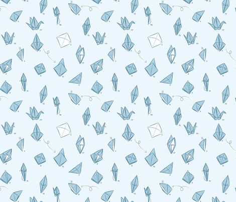 Step-by-Step Crane fabric by laowti on Spoonflower - custom fabric