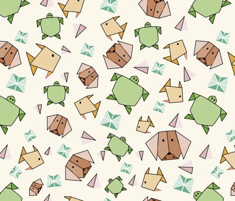 origami animals fabric by renatajeanstudios on Spoonflower - custom fabric