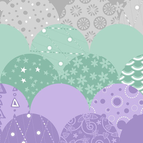 Large Scallop Sea (Purple, Mint, Silver)