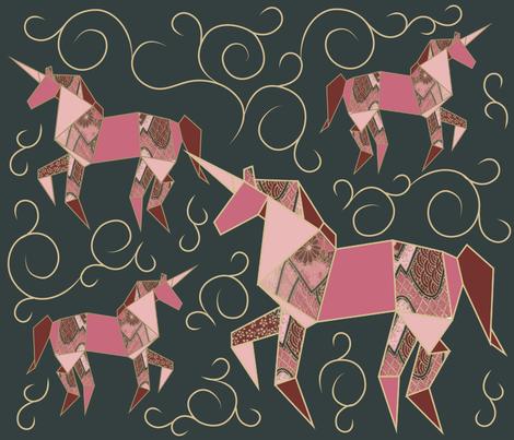 Origami_Unicorn_Pattern_Darkjpg fabric by lusine on Spoonflower - custom fabric