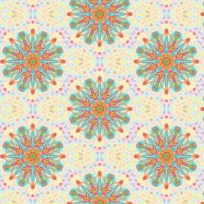 Loopy Loom Flowers With Pastel Speckles on Buttery Yellow - Small Scale