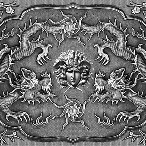 double pair dragons medusa versace inspired  baroque rococo black flowers floral filigree clouds sun fire flames pearl monochrome black white grey gray asian japanese china gorgons Greek Greece mythology far east meets west fusion oriental chinoiserie