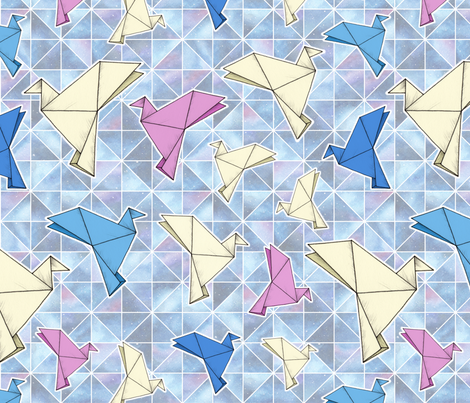 Cosmic Origami Doves fabric by hazel_fisher_creations on Spoonflower - custom fabric