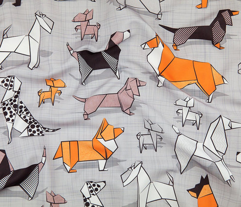 Small scale // Origami doggie friends // grey linen texture background paper dogs