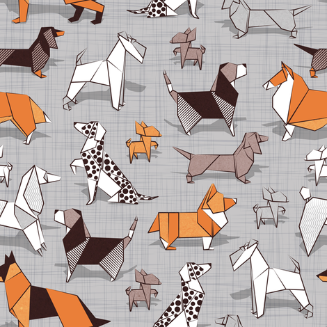 Origami doggie friends // small scale // grey linen texture background paper dogs fabric by selmacardoso on Spoonflower - custom fabric