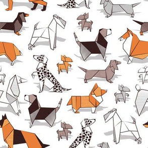 Origami doggie friends // small scale // white background paper Chihuahuas Dachshunds Corgis Beagles German Shepperds Collies Poodles Terriers Dalmatians