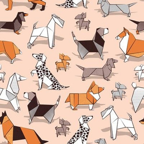 Small scale // Origami doggie friends // flesh background paper Chihuahuas Dachshunds Corgis Beagles German Shepherds Collies Poodles Terriers Dalmatians