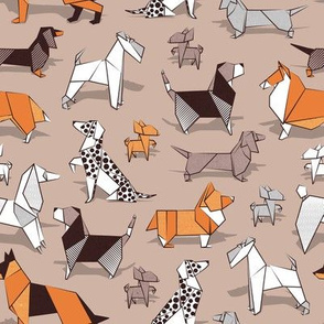Origami doggie friends // small scale // brown background paper Chihuahuas Dachshunds Corgis Beagles German Shepherds Collies Poodles Terriers Dalmatians