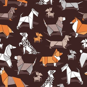 Small scale // Origami doggie friends // dark brown background paper Chihuahuas Dachshunds Corgis Beagles German Shepherds Collies Poodles Terriers Dalmatians
