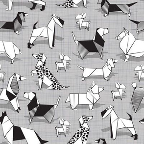 Origami doggie friends // small scale // grey linen texture background coloring paper Chihuahuas Dachshunds Corgis Beagles German Shepherds Collies Poodles Terriers Dalmatians