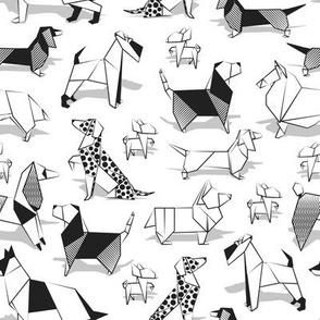 Origami doggie friends // small scale // white background coloring paper Chihuahuas Dachshunds Corgis Beagles German Shepherds Collies Poodles Terriers Dalmatians