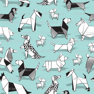 Origami doggie friends // small scale // aqua background paper Chihuahuas Dachshunds Corgis Beagles German Shepherds Collies Poodles Terriers Dalmatians