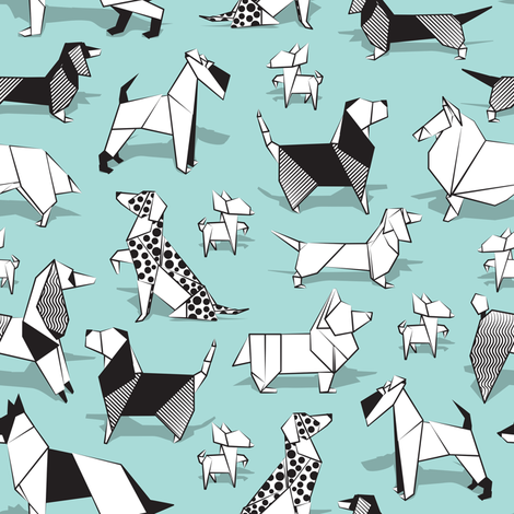 Origami doggie friends // small scale // aqua background paper Chihuahuas Dachshunds Corgis Beagles German Shepherds Collies Poodles Terriers Dalmatians  fabric by selmacardoso on Spoonflower - custom fabric