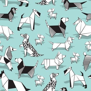 Small scale // Origami doggie friends // aqua background paper Chihuahuas Dachshunds Corgis Beagles German Shepherds Collies Poodles Terriers Dalmatians
