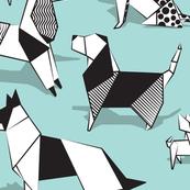 Origami doggie friends // normal scale // aqua background paper Chihuahuas Dachshunds Corgis Beagles German Shepherds Collies Poodles Terriers Dalmatians