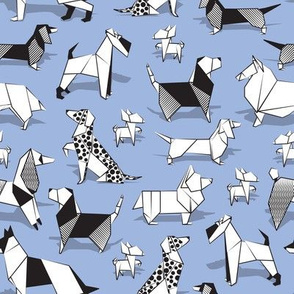 Small scale // Origami doggie friends //  blue lavander background paper Chihuahuas Dachshunds Corgis Beagles German Shepherds Collies Poodles Terriers Dalmatians