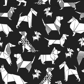 Small scale // Origami doggie friends // black background white coloring paper Chihuahuas Dachshunds Corgis Beagles German Shepherds Collies Poodles Terriers Dalmatians